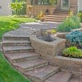 Tiered Retaining Wall Planters, Curved Stairs and Stairs