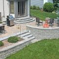 Raised Patio with Retaining Walls and a Planter