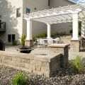 freestanding wall with pergola and patio 2