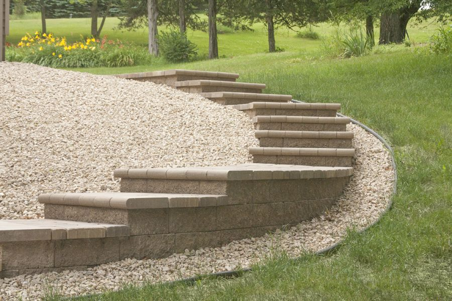 Retaining Walls Create Beautiful, Curved Stairs/walkway