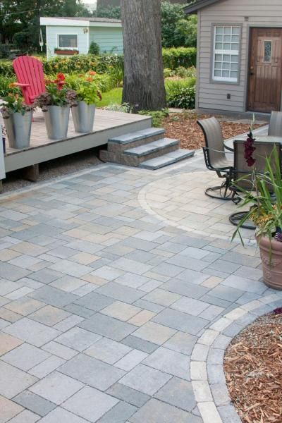 Permeable Paver Patio Pairs Perfectly With Deck Villa